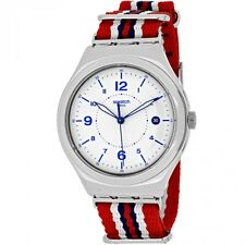 Swatch Unisex YWS407 'Irony New Beach' Red blue and white Nylon Watch