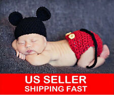 NEWBORN BABY BOYs MICKEY MOUSE CROCHET PHOTO PROP OUTFITs XMAS COSTUME 246