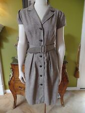 NWT MAX AND CLEO Tweed Tie Front Button Front Shirt Sheath Dress 6