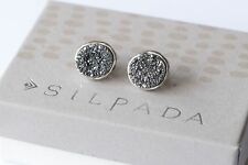 Silpada NEW Crystal Cave Druzy Sterling Silver Post Stud Gray Earrings P3125