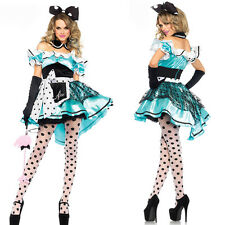 Sexy Women Halloween Alice In Wonderland Costume Blue Fancy Dress Party Outfits