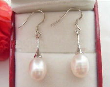 BEAUTIFUL! REAL NATURAL WHITE CULTURED PEARL DANGLE DROP EARRING AAA