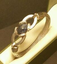 Fine Vintage Art-Deco Designer Sterling Silver 950 Lapis Lazuli Bangle 7 inch