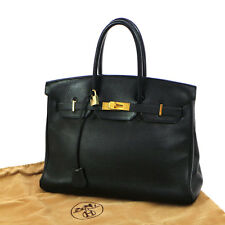 Authentic HERMES BIRKIN 35 Hand Bag Black Clemence Leather GHW Purse S05400