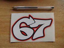 1x Large Shakey Byrne #67 sticker - 140mm x 90mm decals - BSB SBK race number