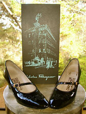 Salvatore Ferragamo VTG Black Patent Leather Mary Jane Wingtip Pump Women 6.5 AA