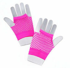 Short Neon Pink Fishnet Gloves Fame Nu Rave Festival 80'S Disco Fancy Dress