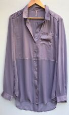 Free People Large Top Sheer Purple Tunic L Lavender Blouse Button Front Shirt