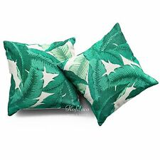 2Pcs Throw Pillow Case Banana Palm Leaves HEAVY WEIGHT FABRIC Cushion Cover Set