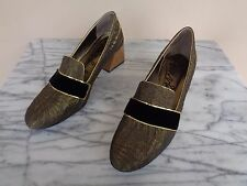 Lanvin Size 38 Black Velvet & Metallic Gold Brocade Loafers Heels Shoes