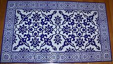 "Cobalt Blue 40""x24"" Turkish Iznik Carnation Pattern Mural Ceramic Tile Panel"