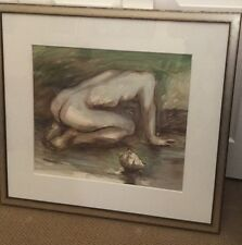 "RC Gorman ""Untitled"" Male Nude Original signed oil Pastel with Custom Frame"