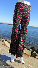 NEW L PYRAMID COLLECTION pants roses black pink soft sexy cute comfy lounge boho