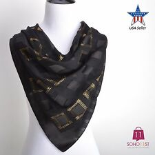 New 100% Silk Square Scarf Gold Metallic Thread Embellished Wrap Shawl Scarf