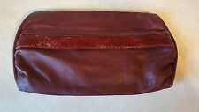 VINTAGE SHARIF MAROON FAUX SNAKE SKIN OCTOGONAL MAGNETIC SNAP CLOSURE PURSE