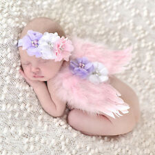 Cute Baby Kids Feather Lace Headband & Angel Wings Flowers Photo Props Costume