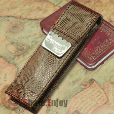 CROCODILE LUXURY BROWN ROLLER AND FOUNTAIN PENS CASE HOLDER FOR 2 PENS