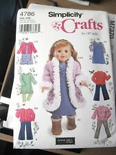 "NEW SIMPLICITY CRAFT PATTERN 18"" DOLL CLOTHING #4786 A WARDROBE JACKET DRESS ..."
