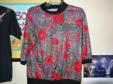 "JUST 4""Red Roses w/ Purple,Brown & Black 3/4 Sleeve Top""Black Knit Collar Sz.22W"