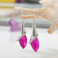 Stunning Women White Gold Plated Oval Crystal Drop Dangle Earrings Hook Jewelry