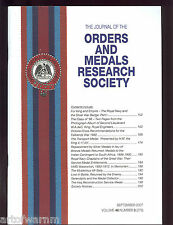 OMRS  vol 46  # 3  2007  Journal Orders & Medals Research Society  UK MEDAL MAGZ