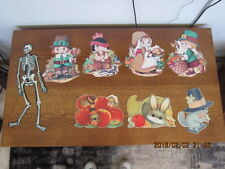 Vintage Lot Beistle Thanksgiving Halloween Decorations Jointed Skelton Pilgrims