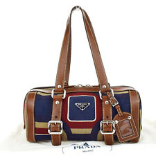 Authentic PRADA Logos Shoulder Bag Canvas Leather Brown Red Blue Italy 68M906