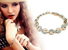 Olivia Cascade Olive-shape Crystal Paved Polished Bracelet Gold or Silver or Mix