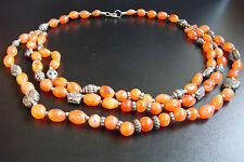 RARE VINTAGE NATURAL CARNELIAN BEADS BEAUTIFUL DESIGN STYLE NECKLACE JEWELRY