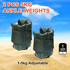 New 2X5kg Wrist Ankle Weights Gym Fitness Training Adjustable Pair Strap