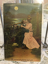 Antique postcard sweetheart Chromo lithograph Kissing full moon 1906 England