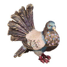 Decorative Enamel Faberge Trinket Jewel Box Pigeon / Dove 2.2''x2.6''x1.2''
