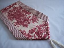 "53"" RED ON CREAM~WAVERLY Country Life Toile/TICKING~Lined Tablerunner!! Tassels!"