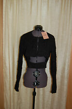 NWT MIU MIU Black Silk Bland Black Glacca Short Jacket Size 46 Made in Italy
