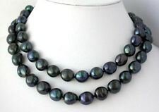 """NEW 48"""" 8-9mm nature baroque black freshwater pearl necklace AAA"""