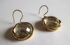 VINTAGE 1980S GOLD TONE CLEAR FACETED GLASS BEAD PIERCED EARRINGS