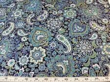 SILVER PAISLEY BLUE HOFFMAN COTTON QUILT FABRIC