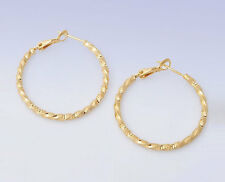 "Gold Plated 1-3/8"" Textured TWISTED  Hoop Clutchless EARRINGS"
