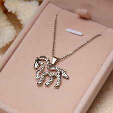 Hot Silver Plated Crystal Horse Unicorn Pendant Sweater Chain Necklace Jewelry