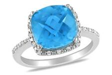 Cushion-Cut Simulated Blue Topaz Ring in Sterling Silver and White CZ  Size 7