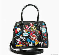 New Loungefly Disney Michey Mouse Patch Bag Faux Leather Bowler Handbag Purse