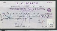 wbc. - CHEQUE FORM - CH36- USED -1960's - WESTMINSTER BANK ,GARSTON - EC PORTCH