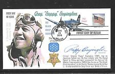 BLACK SHEEP SQUADRON PAPPY BOYINGTON AUTOGRAPH SIGNED WWII FIRST DAY COVER FDC
