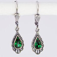 Ohrringe Ohrhänger Silber Swarovski Kristall Tropfen Vintage retro Emerald grün