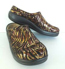 Alegria Womens Leather Shoes New $120 Kayla Golden Jungle Clog EU 40 US 9, 9.5