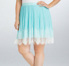 New Torrid Plus Size Pleated Chiffon Lace Skirt Light Ice Blue in Size 18 18W
