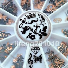 3D Metal Christmas Nail Art Decoration Slice Black Stickers Decal Foil Wheel NEW