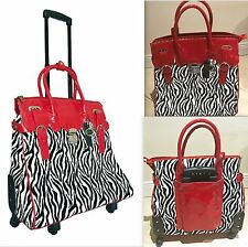Laptop Overnight Bag Tote Red Rolling 4 Wheels Spinner Briefcase Animal Print