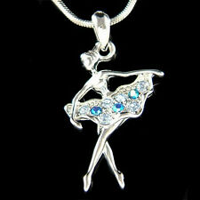 w Swarovski Crystal Blue BALLERINA The Nutcracker Ballet Dancer Pendant Necklace