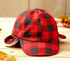Buffalo Check Red/Black Sherpa-Lined Cap Hat w/Ear Flaps One Size Warm NIP
